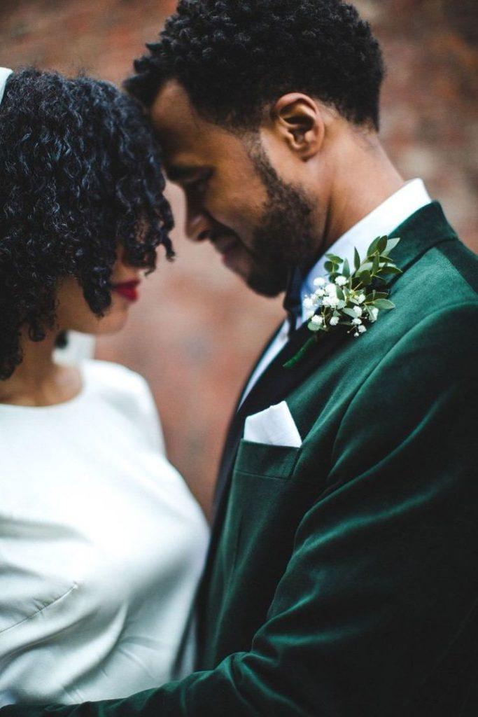 mariage costume vert velours